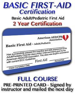 Basic First Aid Course - Pre-printed Card
