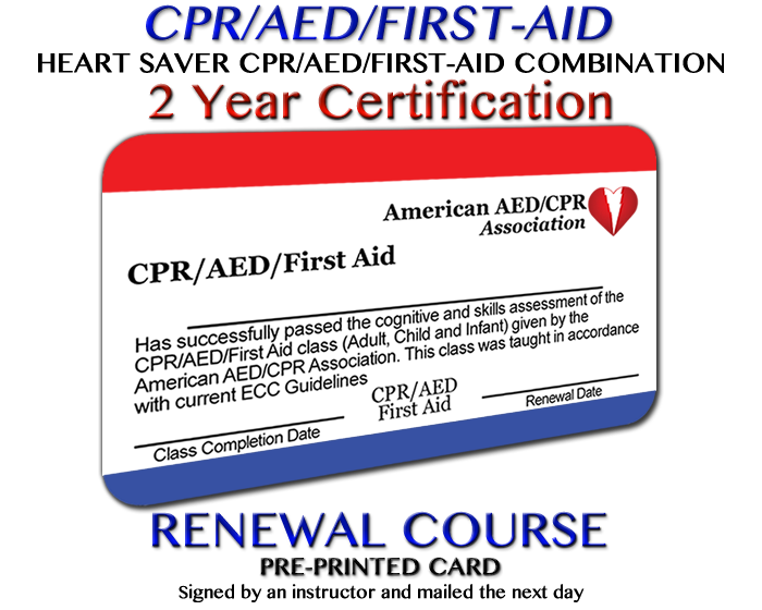aedcpr cpr aed first aid renewal pre printed card accreditedonline cpr aed first aid re certification class