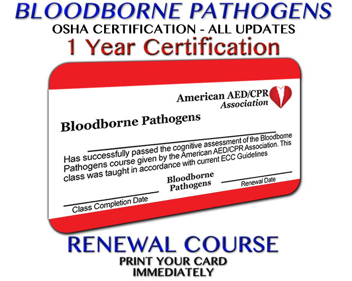 Aedcpr Online Osha Bloodborne Pathogens Renewal Class Accredited