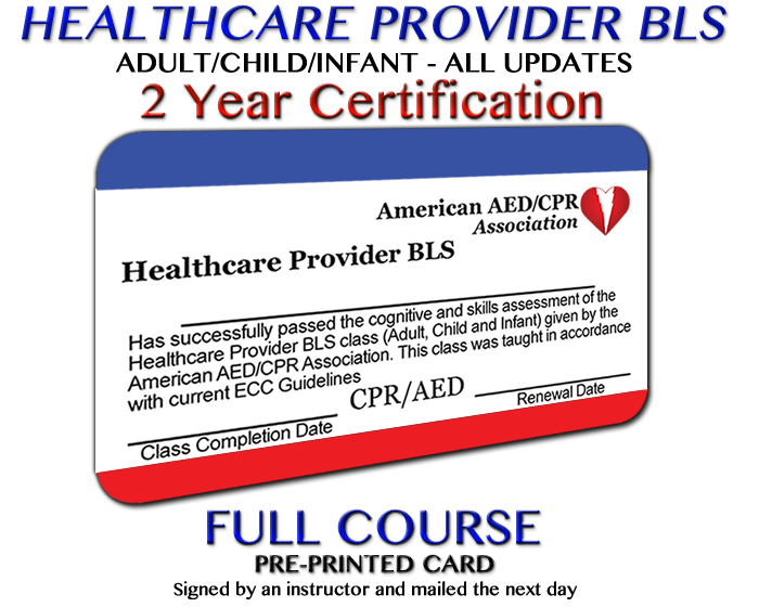 aedcpr - healthcare provider bls course - preprinted card ...