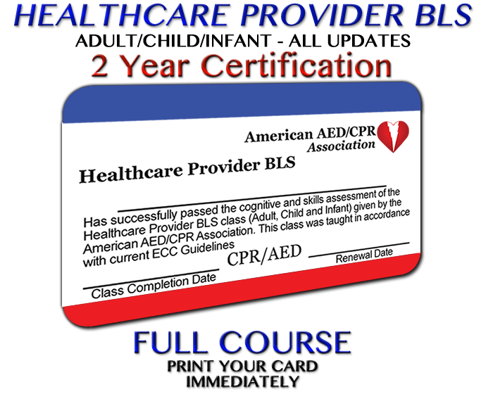 Aedcpr Healthcare Provider Bls Course Preprinted Card