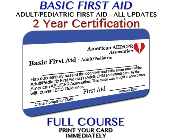 AEDCPR - Adult/Pediatric First Aid Course - Accredited in all 50 States