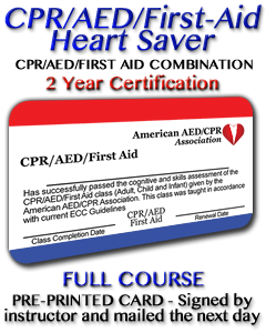 CPR/AED/First Aid - Pre-printed card