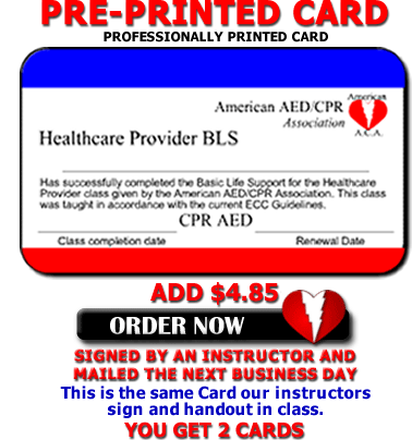 Online CPR Renewal - Instructor signed card